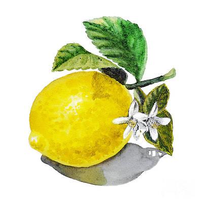 Lemon Flowers And Lemon Print by Irina Sztukowski