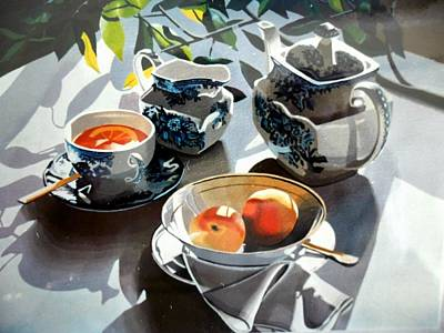 Table Cloth Painting - Lemon Tea by Jeni Hodgson-Craig