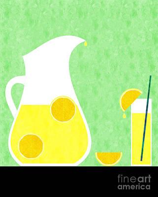 Lemon Digital Art - Lemonade And Glass Green by Andee Design
