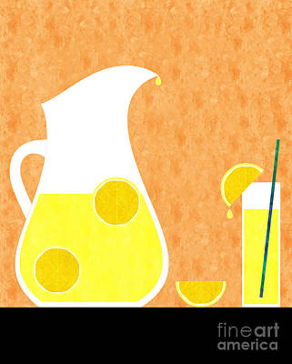 Lemon Digital Art - Lemonade And Glass Orange by Andee Design