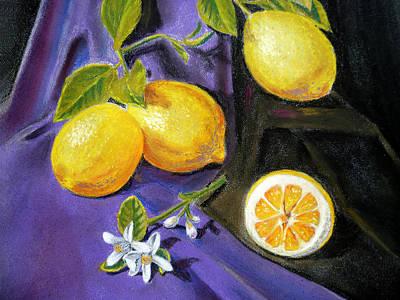 Lemons And Flowers Print by Irina Sztukowski