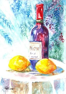 Lemons And Wine And A Little Sunshine Print by Carol Wisniewski