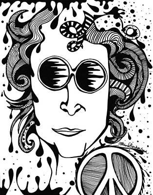 John Lennon Drawing - Lennon by Katrina Berkenbosch
