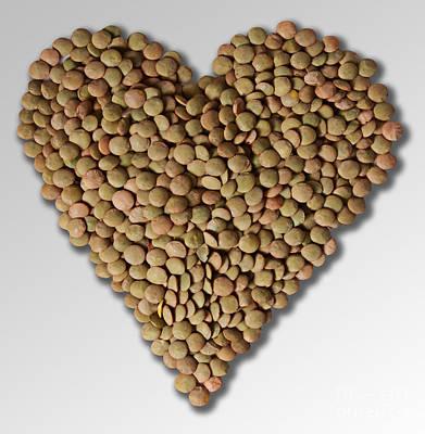 Heart Healthy Photograph - Lentil In Heart Shape by Gwen Shockey