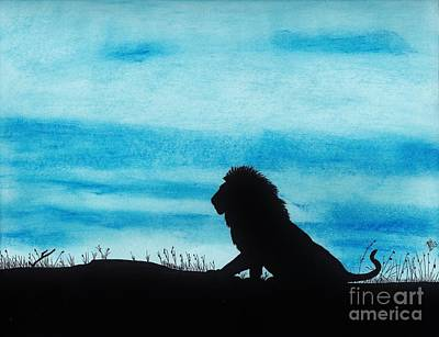African Big Cats Drawing - Leo At Sunset by D Hackett