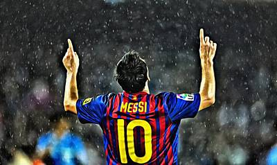 Leo Painting - Leo Messi Poster Art by Florian Rodarte