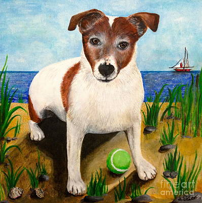 Dog Playing Ball Painting - Leo by Rachel Mitchell