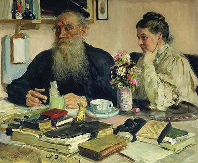 Famous Book Painting - Leo Tolstoy With His Wife In Yasnaya Polyana by Ilya Efimovich Repin