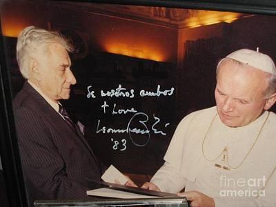 Leonard Bernstein And Pope John Paul II Print by Jose Galindo