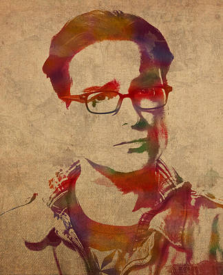 Leonard Hofstadter Watercolor Portrait Big Bang Theory On Distressed Worn Canvas Print by Design Turnpike
