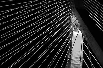 Massachusetts Photograph - Leonard P Zakim Bridge 3 - Bw by Joann Vitali