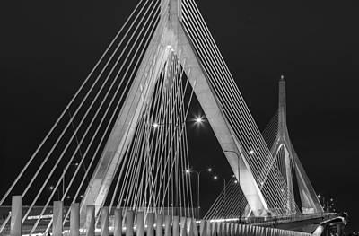 Leonard P. Zakim Bunker Hill Memorial Bridge Bw Print by Susan Candelario