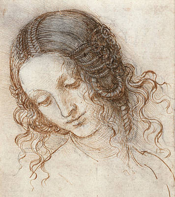 Leonardo Head Of Woman Drawing Print by