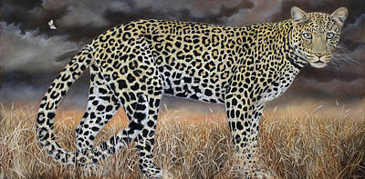 Damian Painting - Leopard And Moth  by Damian Osborne