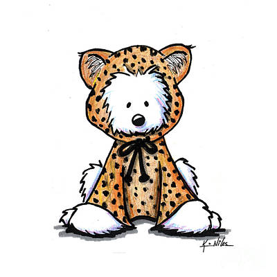 Leopard Drawing - Leopard Cub Westie by Kim Niles