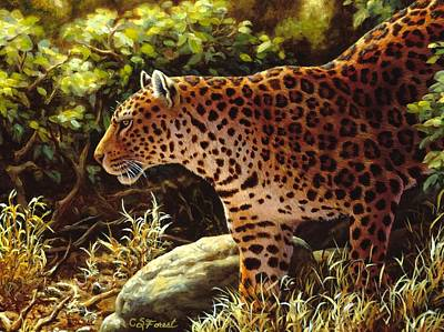 Jungle Cat Painting - Leopard Painting - On The Prowl by Crista Forest