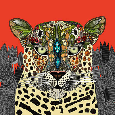 Leopard Drawing - Leopard Queen Coral by Sharon Turner