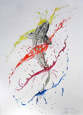 Leopard Shark Splash 01 Print by Sam Lea