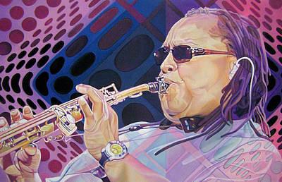 Musician Drawing - Leroi Moore by Joshua Morton
