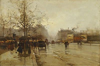 Perspective Painting - Les Boulevards Paris by Eugene Galien-Laloue