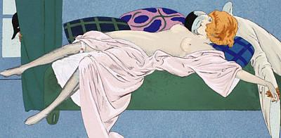 Bosoms Drawing - Les Cinq Sens by Ettore Tito