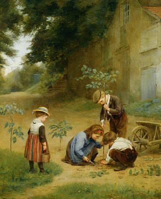 Les Jeunes Jardiniers Print by Edouard Frere