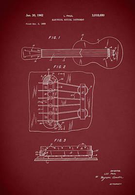 Les Photograph - Les Paul Guitar Patent 1962 by Mark Rogan