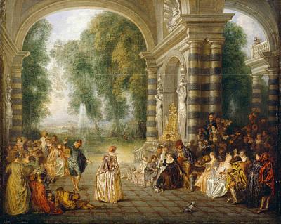 Antoine Watteau Painting - Les Plaisirs Du Bal by Antoine Watteau