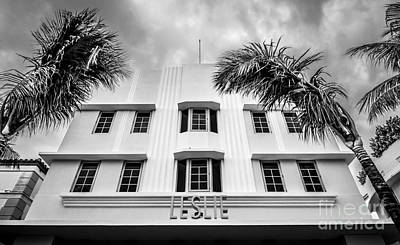 Leslie Hotel South Beach Miami Art Deco Detail - Black And White Print by Ian Monk