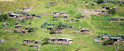 African Huts Photograph - Lesotho Village On The Side by Panoramic Images