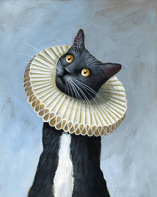 Humorous Cat Painting - Less Is More ... Tuxedo Cat Art Painting by Amy Giacomelli