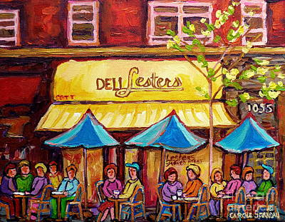Lester's Deli Montreal Smoked Meat Paris Style French Cafe Paintings Carole Spandau Print by Carole Spandau