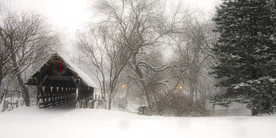 Covered Bridge Photograph - Let It Snow by Andrew Soundarajan