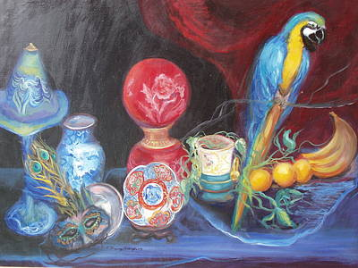Blue And Gold Macaw Painting - Let Your Light Shine And Fly by Patricia Kimsey Bollinger