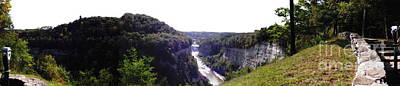 Leaves Photograph - Letchworth Genesee River And 2 Falls Panorama Oil Painting Effect by Rose Santuci-Sofranko