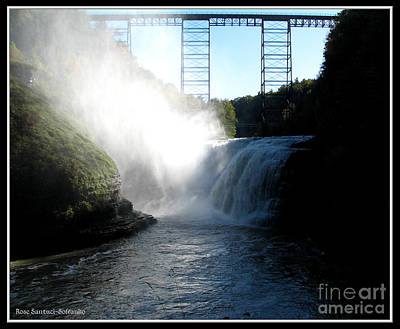 Letchworth State Park Upper Falls And Railroad Trestle Print by Rose Santuci-Sofranko