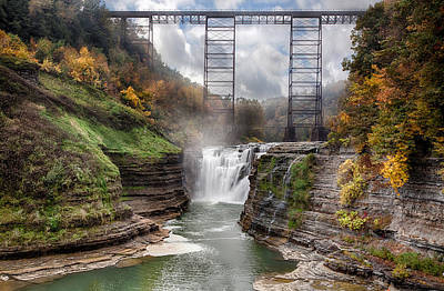 Crossing Photograph - Letchworth Upper Falls by Peter Chilelli