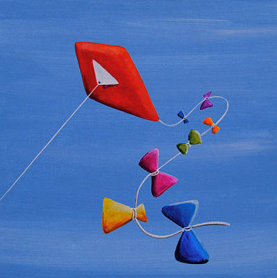 Kites Painting - Let's Go Fly A Kite by Cindy Thornton
