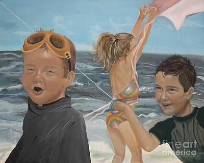 Kids Flying Kite Painting - Beach - Children Playing - Kite by Jan Dappen