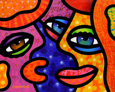 Abstract Faces Painting - Let's Go Shopping by Steven Scott