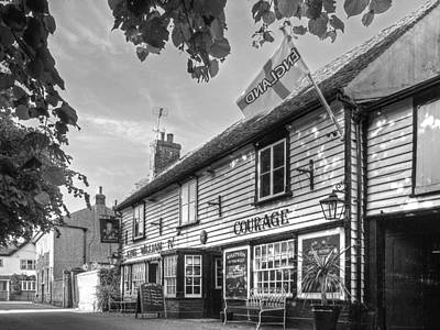 Let's Meet For A Beer - King William Iv Pub - Black And White Print by Gill Billington