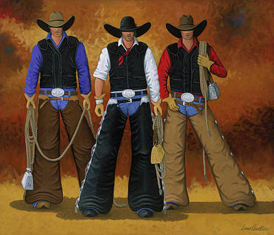 Cowgirls Painting - Let's Ride by Lance Headlee