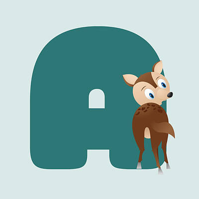 Abc Digital Art - Letter A by Gina Dsgn