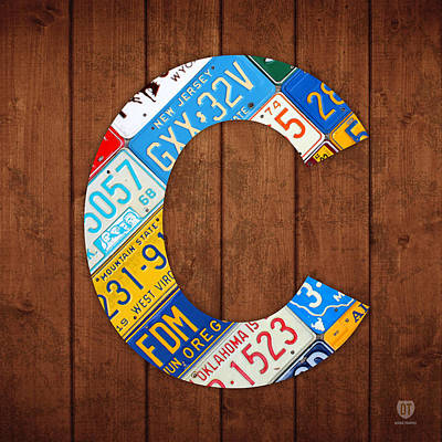 Letter C Alphabet Vintage License Plate Art Print by Design Turnpike