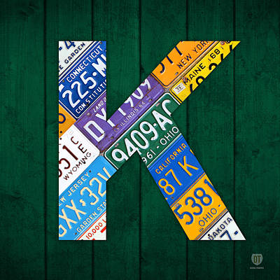 Letter K Alphabet Vintage License Plate Art Print by Design Turnpike