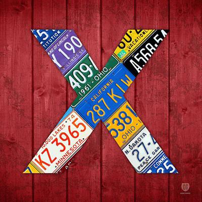 Letter X Alphabet Vintage License Plate Art Print by Design Turnpike