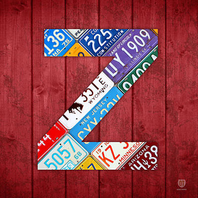 Letter Z Alphabet Vintage License Plate Art Print by Design Turnpike