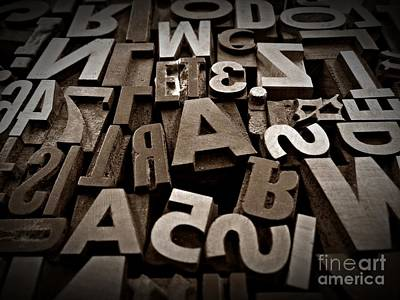 Neurotic Images Photograph - Letters And Numbers Sepia 2 by Chalet Roome-Rigdon