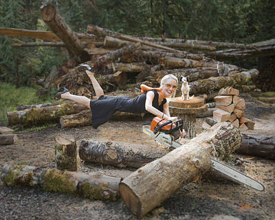 Aligator Photograph - Levitating Housewife - Cutting Firewood by Lori Grimmett