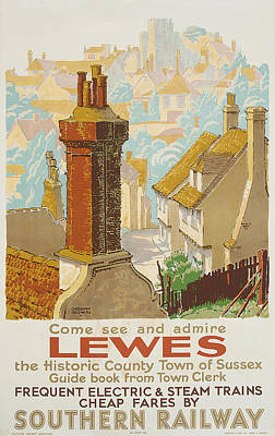 Chimney Drawing - Lewes Poster Advertising Southern Railway by Gregory Brown